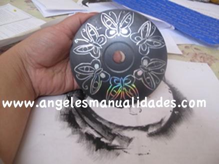 Manualidad con CD Reciclado terminado diseño 2