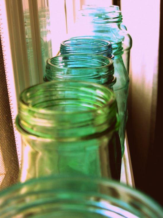 Decoración: Frascos de vidrio terminados